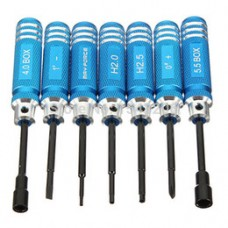 7Pcs Hex Screw Driver 1.5 - 5.5mm Tools Kit Set For RC Heli Airplane Car Blue